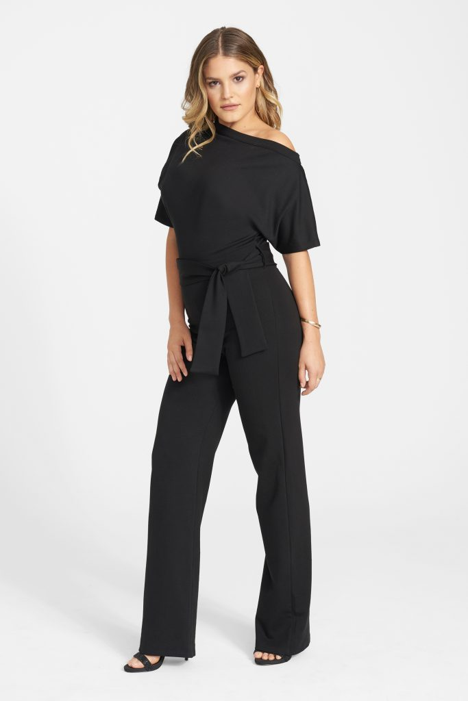 Date night calls for a trendy off the shoulder jumpsuit.