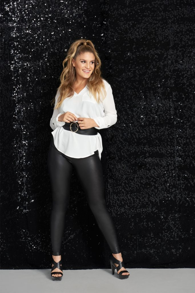 A cute tunic and coated leggings is perfect for a night out.